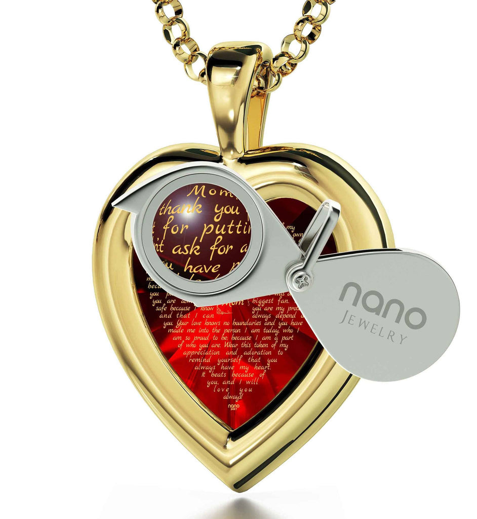 Presents for Mom's Birthday, Gold Necklace, CZ Red Heart, Christmas Gifts for Mothers, Nano Jewelry