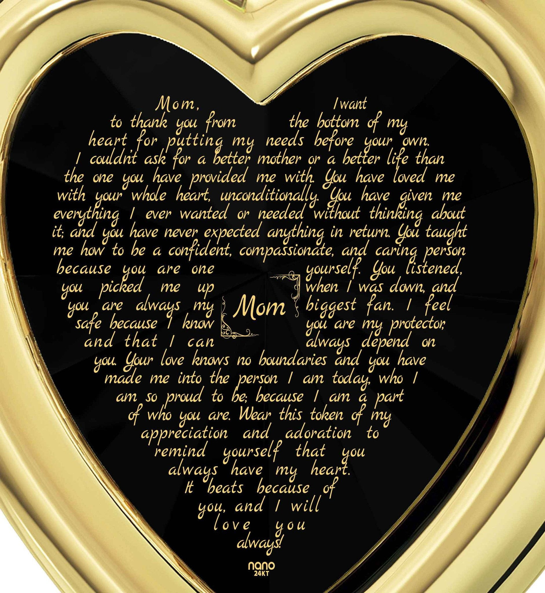 Presents for Mom's Birthday: Gold Necklace with Pendant, CZ Black Heart, Christmas Gifts for Mothers