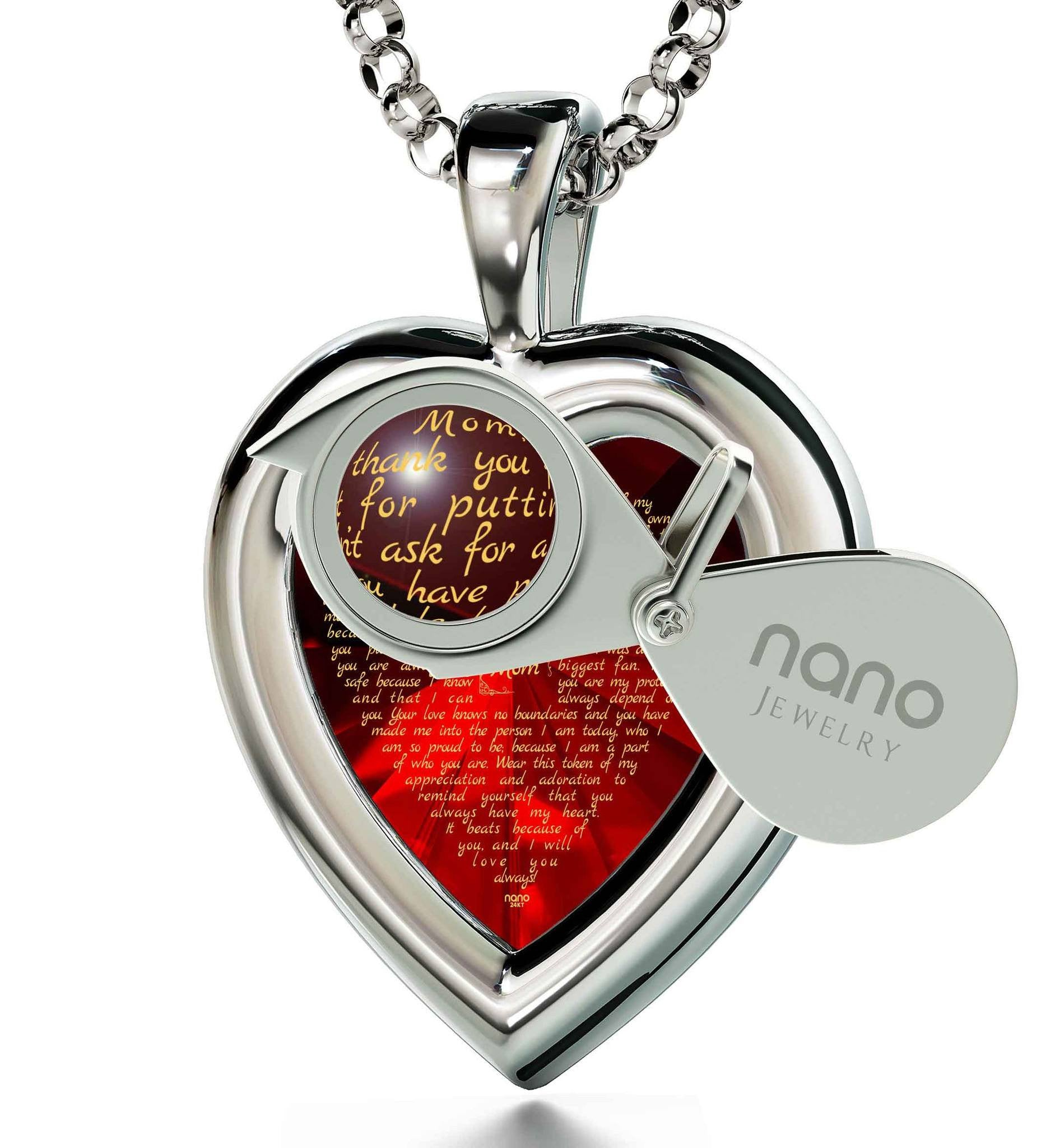 Presents for Mom's Birthday: 14 Karat White Gold Necklace, CZ Red Heart, Christmas Gifts for Mothers
