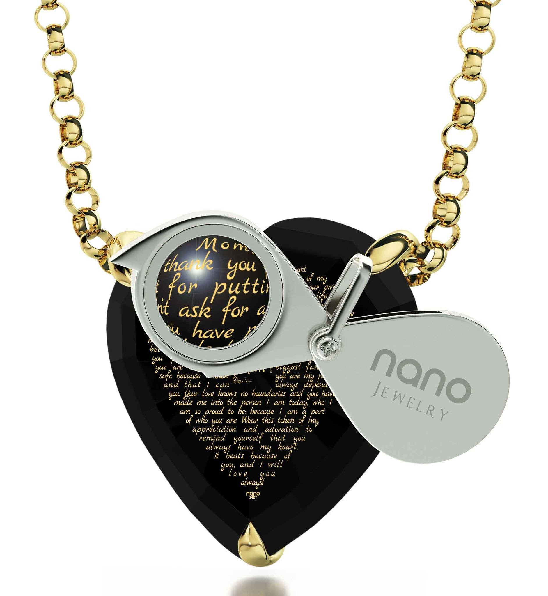 Presents for Mom's Birthday, 14k Gold Necklace, CZ Black Heart, Awesome Mother's Day Gifts
