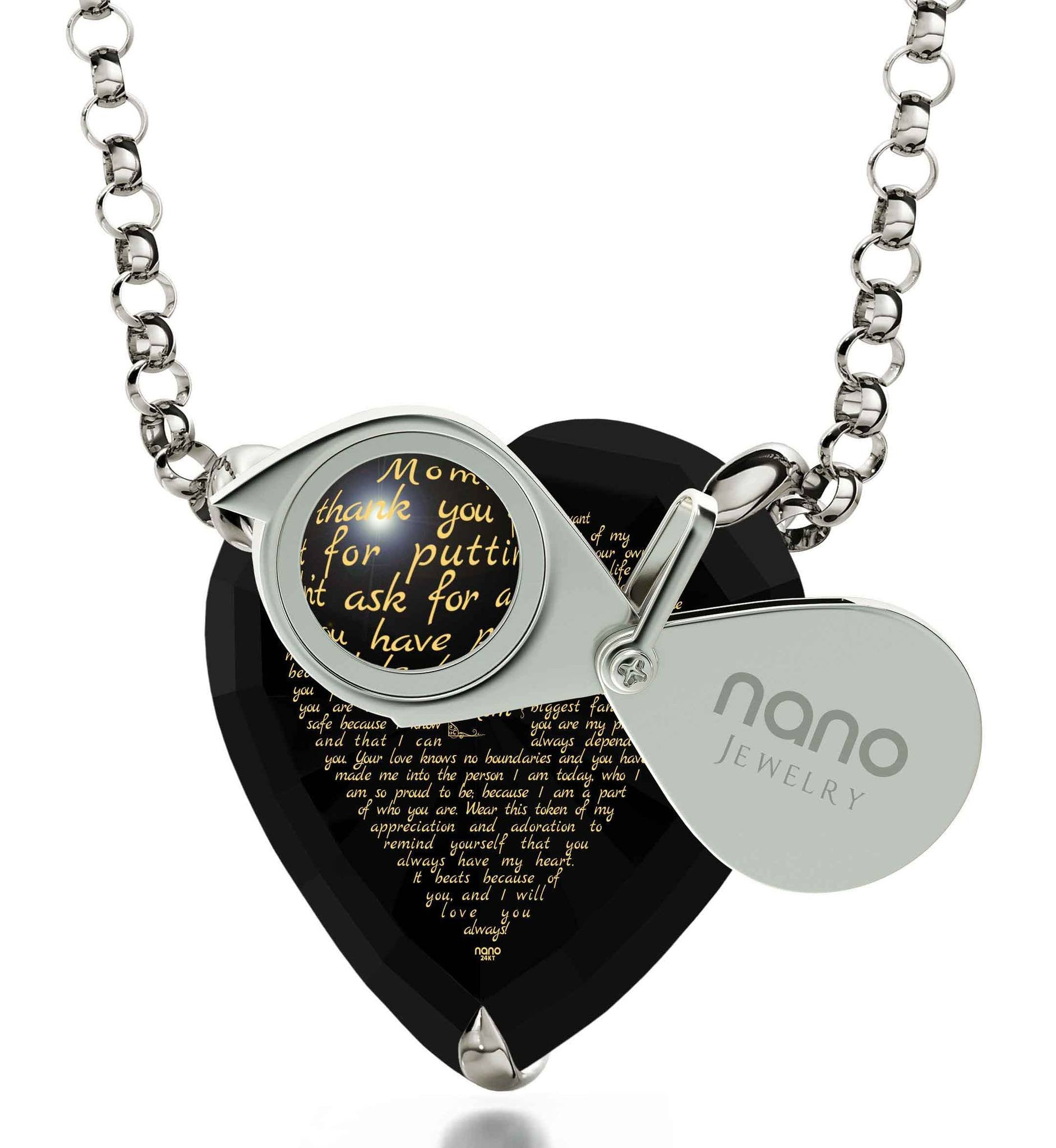 Presents for Mom's Birthday, 14k White Gold Necklace, CZ Black Heart, Awesome Mother's Day Gifts