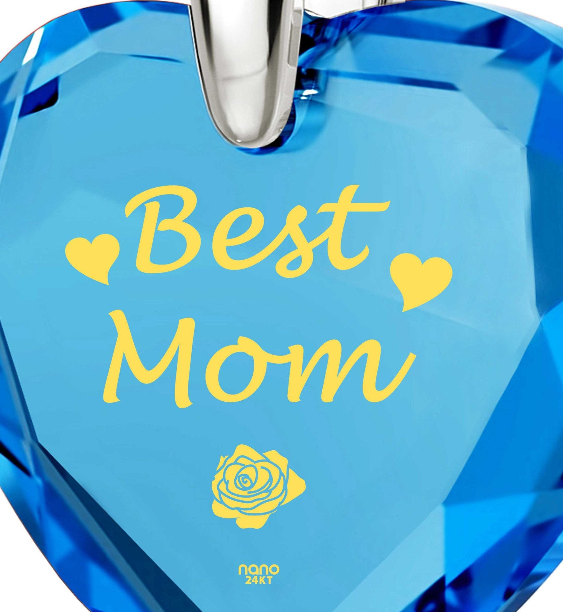 "Presents for Moms Birthday, ""Best Mom"" Blue Stone Jewelry, Best Gift for Mother's Day, by Nano"