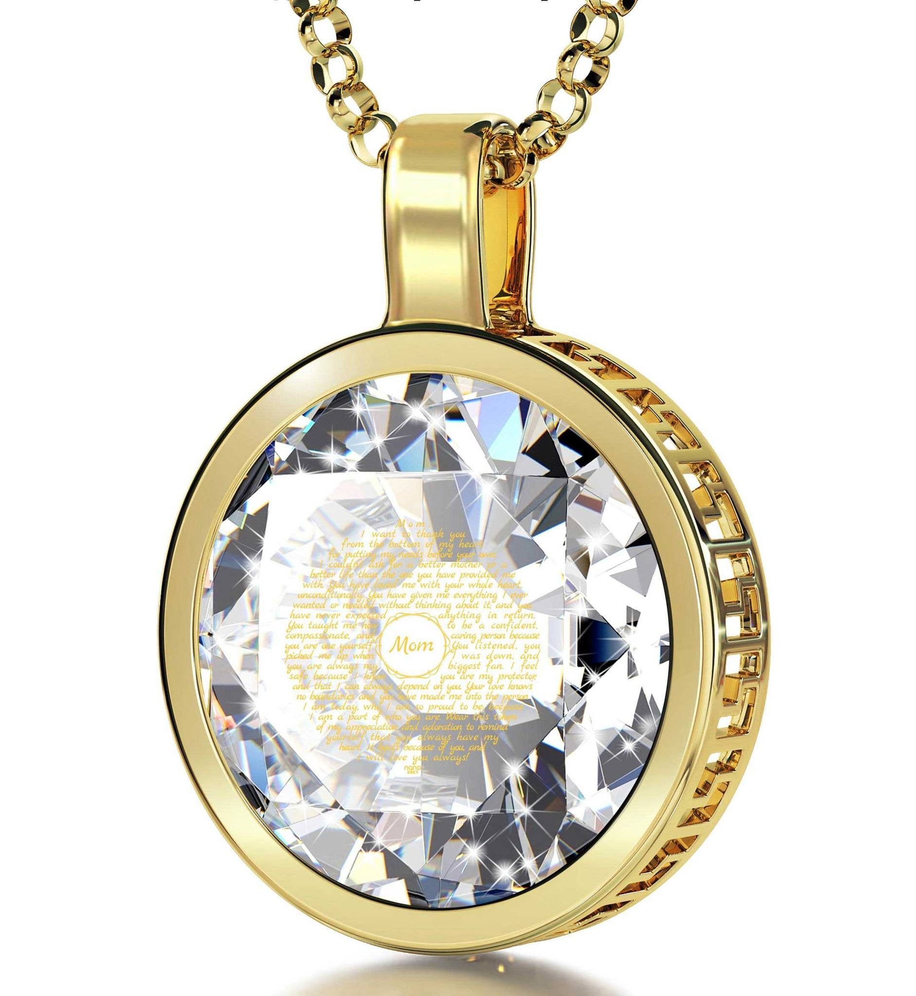 Presents for Moms Birthday, Gold Filled Engraved Necklaces with Crystal Stone, Mother Daughter Jewelry, by Nano