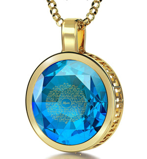 Presents for Moms Birthday, Gold Filled Engraved Necklaces with Turquoise CZ, Mother Daughter Jewelry, by Nano