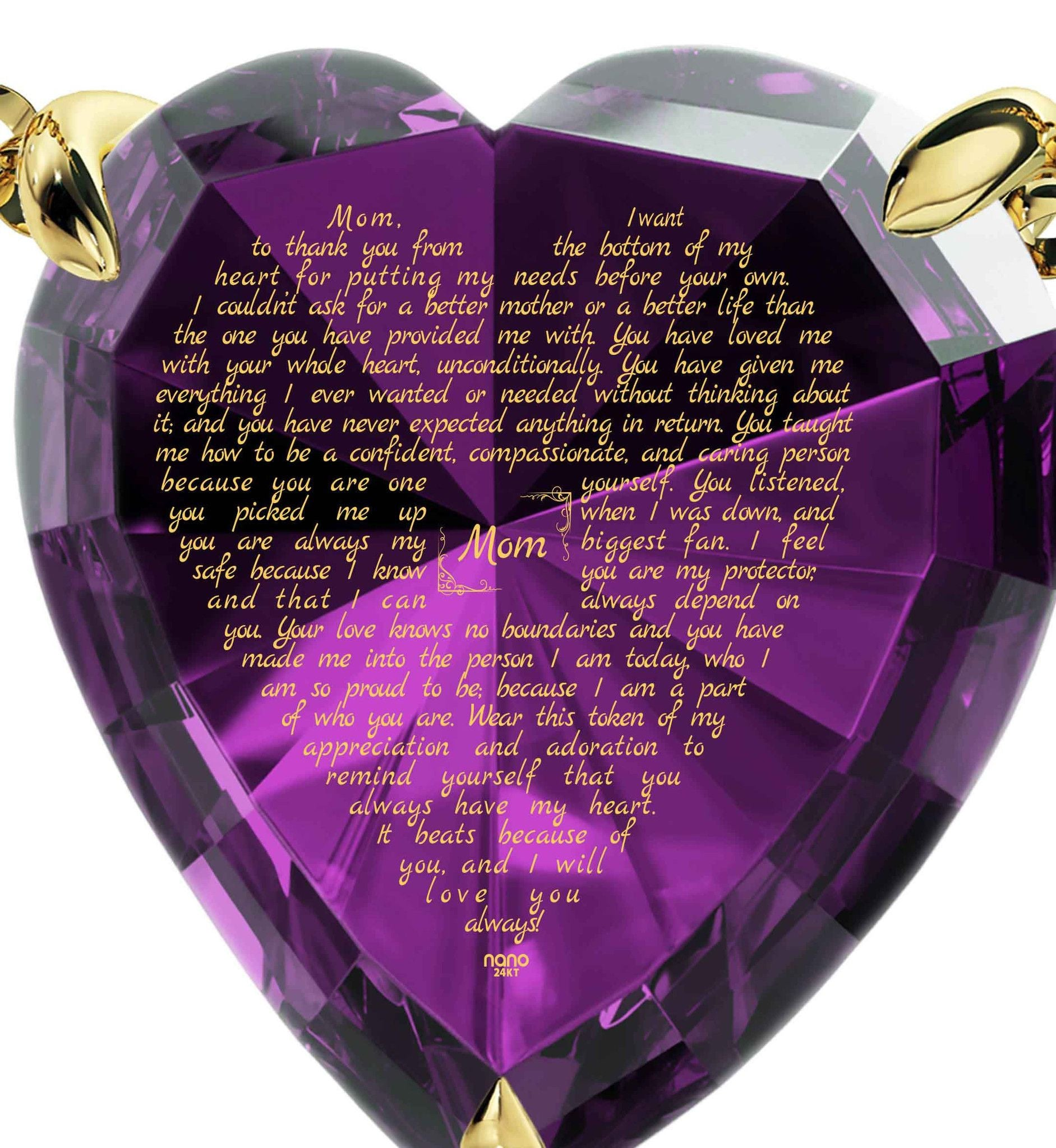 Presents for Mom's Birthday, Necklaces with Meaning, CZ Purple Heart, Best Gift for Mother's Day