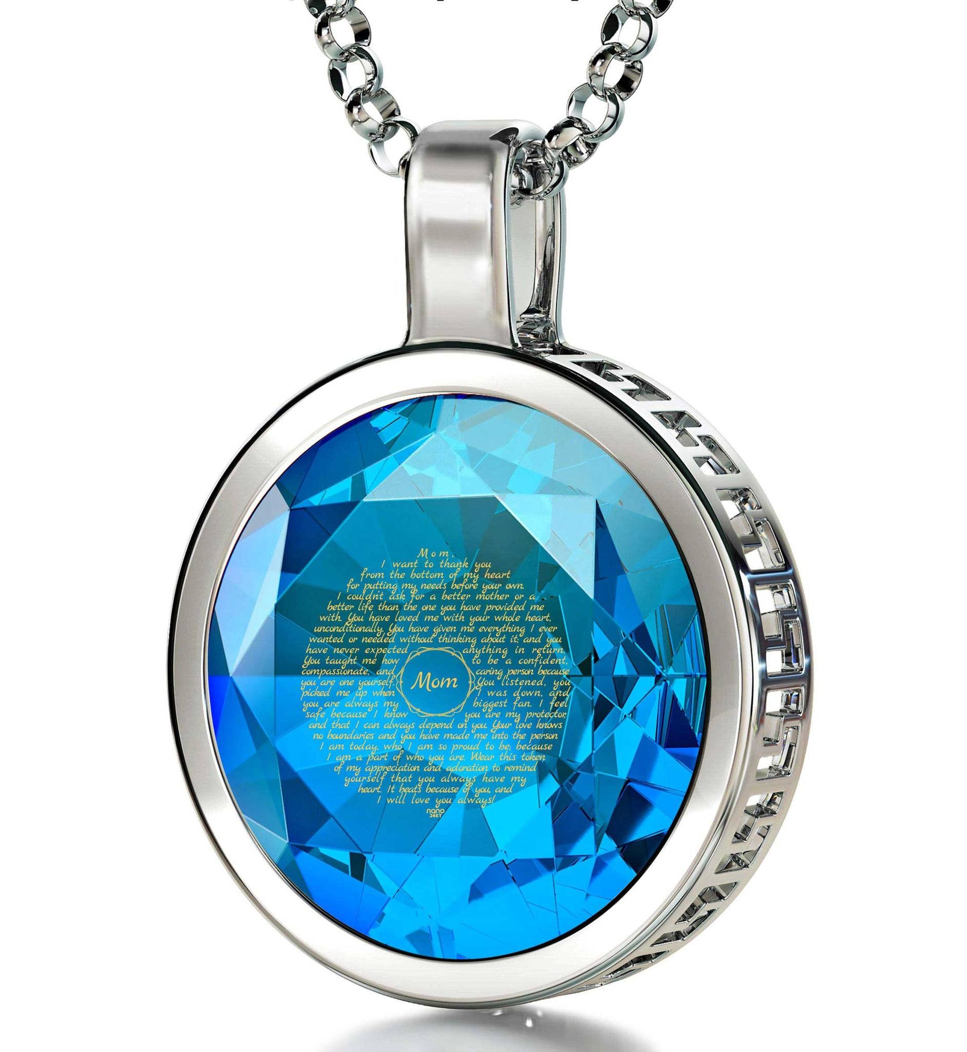 Presents for Moms Birthday, Sterling Silver Engraved Necklaces with Turquoise CZ, Mother Daughter Jewelry, by Nano
