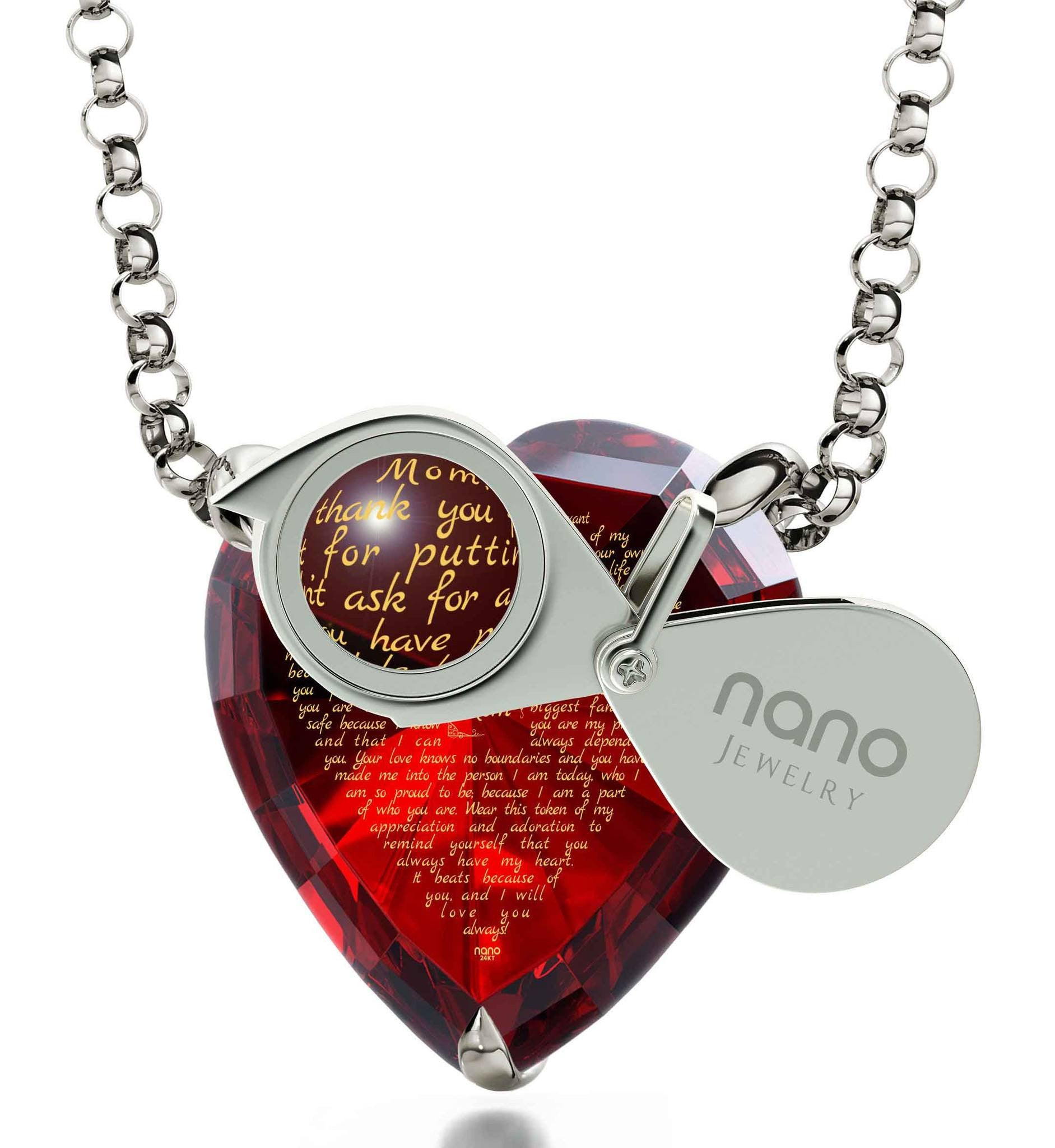 Good Presents for Mom: 14k White Gold Necklace, CZ Red Heart, Special Mother's Day Gifts
