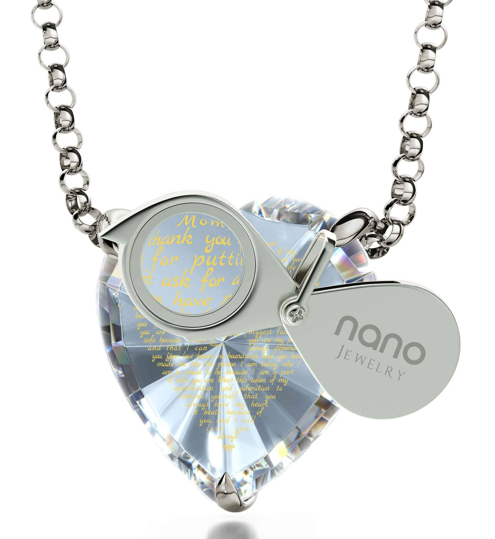Presents for Mom Christmas: Necklaces with Meaning, CZ White Heart, Mother Birthday Gift Ideas by Nano Jewelry