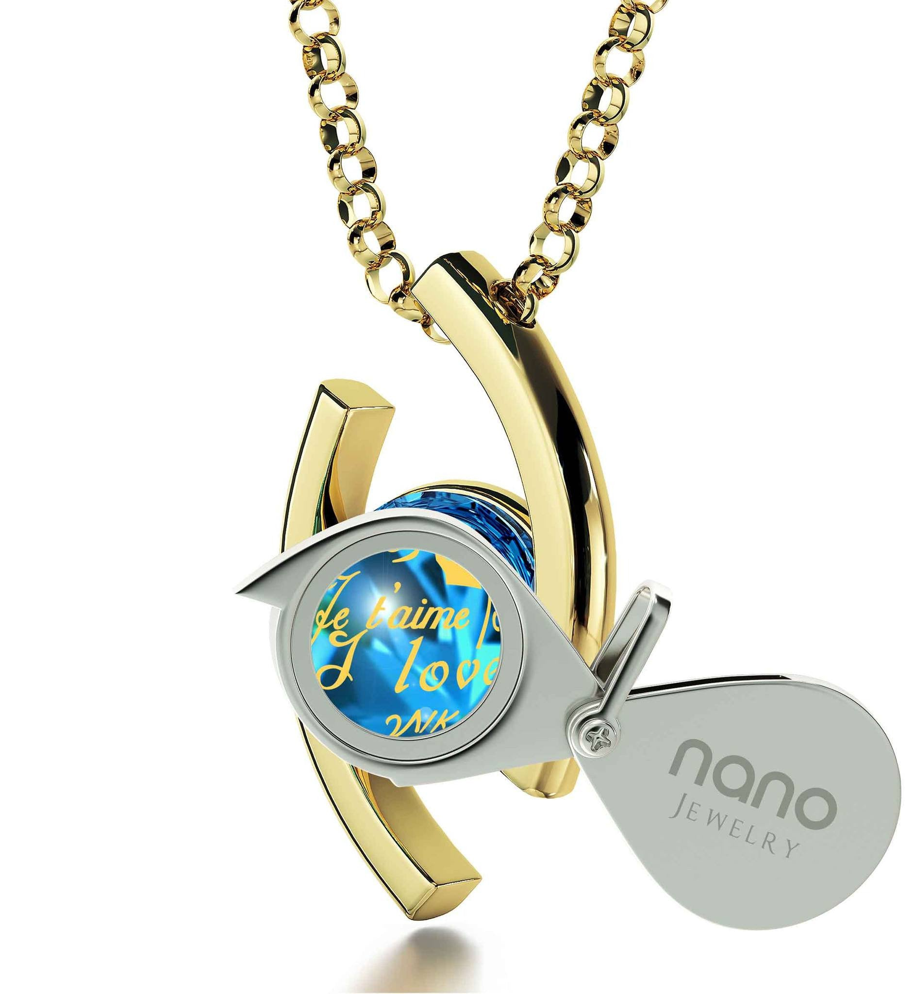 """Christmas Present Ideas for Her, ""TeAmo"", Swarovski Necklace, Best Valentine Gift for Girlfriend by Nano Jewelry"""