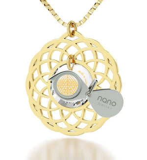 """Priestly Blessing"": Jewish Charms, Judaica Gifts, Gold Necklace with Pendant, Nano Jewelry"