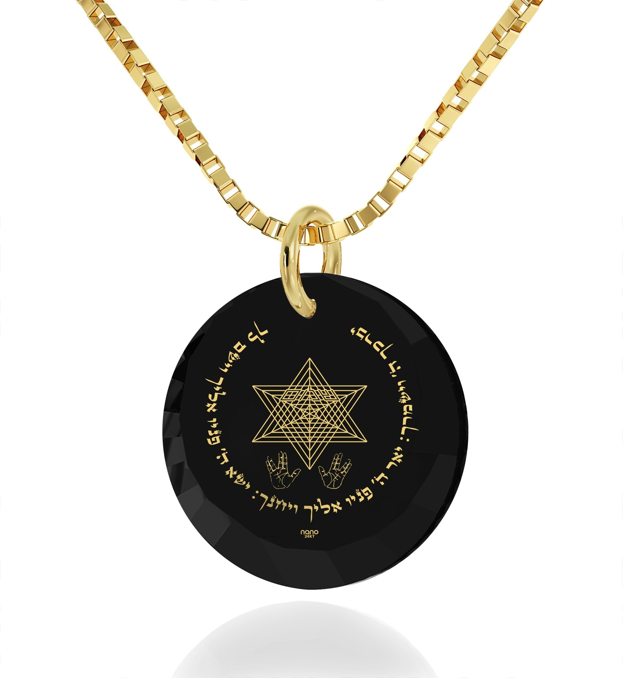 """Priestly Blessing"": Jewish Pendant, Judaica Store, Real Gold Necklace, Nano Jewelry"
