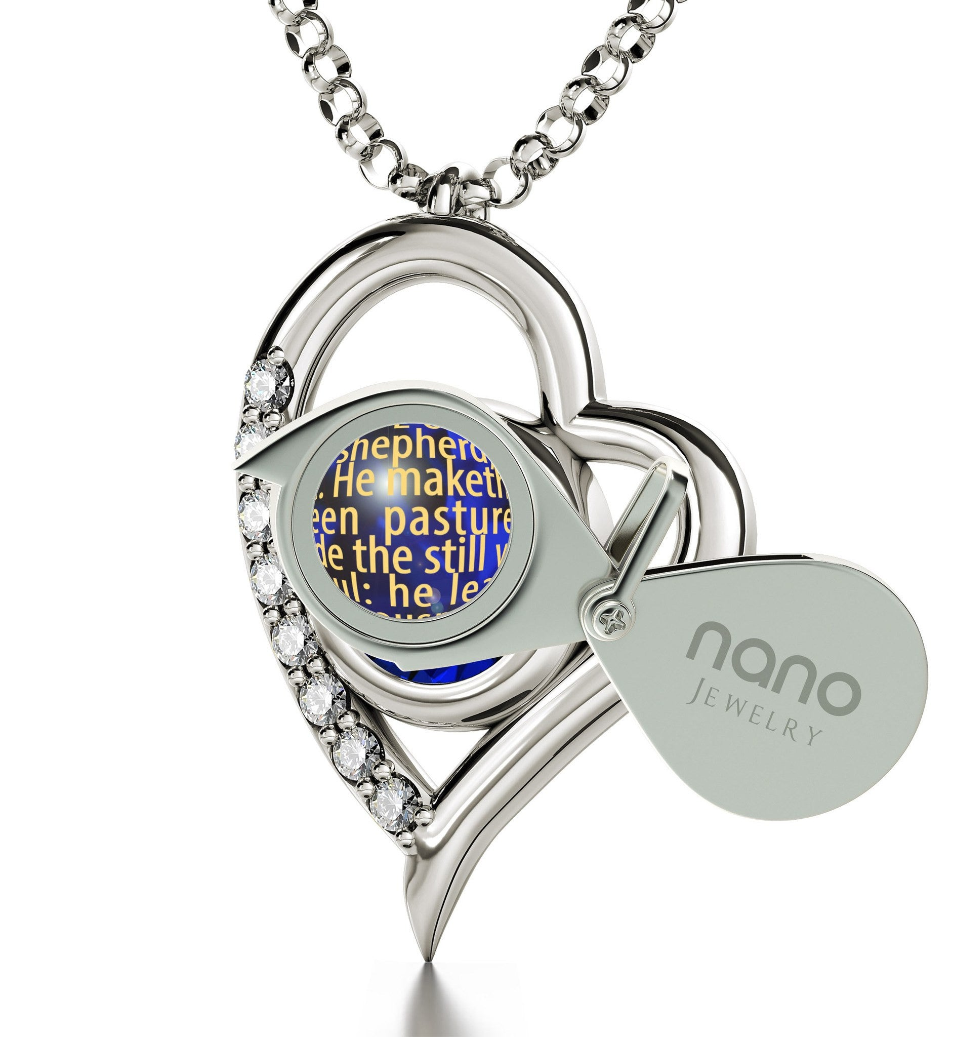 """Psalm 23 Engraved in 24k: Birthday Present for Wife, Catholic Pendants by Nano Jewelry"""