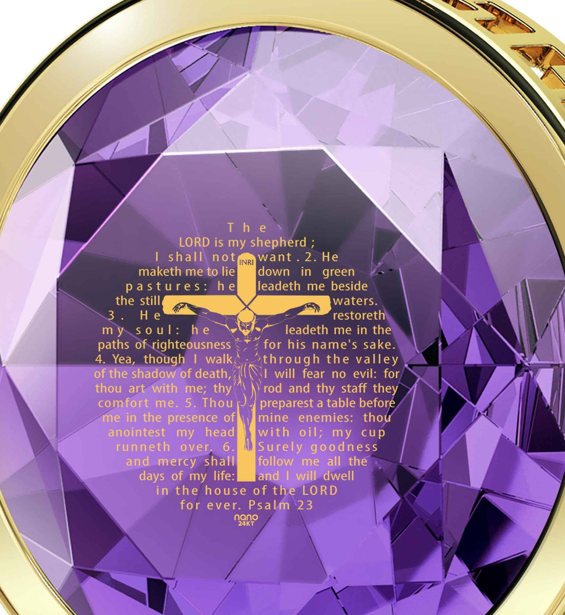 """Psalm23Engravedin24k, TopGiftIdeas for Women,Presents for Grandma,14ktGoldNecklace, NanoJewelry"""