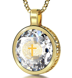 """lm 23 Engraved in 24k: Girlfriend Christmas Presents, Cross Necklaces for Women, Gold Pendants, Nano Jewelry"""
