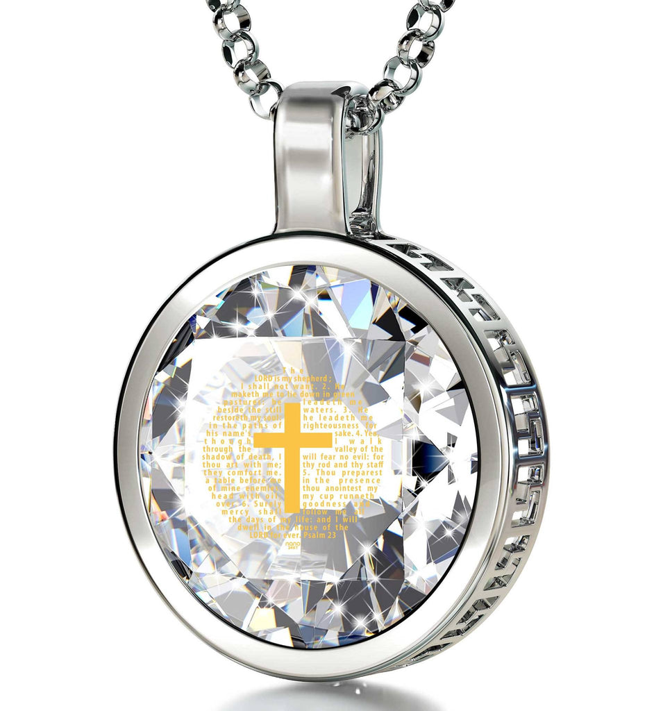 """Psalm 23 Engraved in 24k: Girlfriend Christmas Presents, Cross Necklaces for Women, Sterling Silver Pendants, Nano Jewelry"""