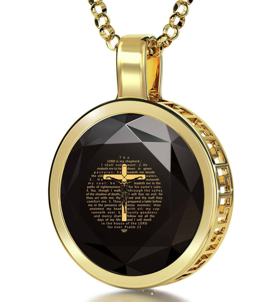 """Psalm23Engravedin24k, Gifts for 70thBirthday, CoolPresents for Guys, BlackOnyxNecklace, NanoJewelry"""
