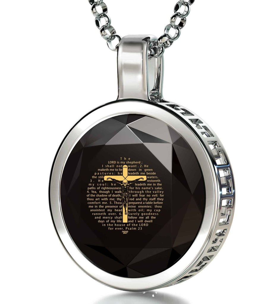 """Psalm23EngravedinPendant, BirthdayPresent for BestFriend, Gifts for Graduates, BlackStoneNecklace, NanoJewelry"""