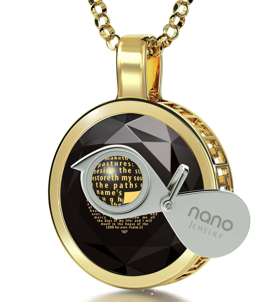 """Psalm 23 Engraved in 24k: Xmas Ideas for Her, Cross Necklaces for Women, 14k Gold Pendants, Nano Jewelry"""