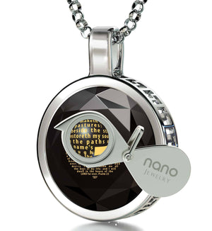 """Psalm 23 Engraved in 24k: Xmas Ideas for Her, Cross Necklaces for Women, 14k White Gold Pendants, Nano Jewelry"""