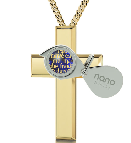 """Psalm 23 in French: Birthday Present Ideas for Girlfriend, Top Gifts for Mom, Real Gold Cross Necklace"""