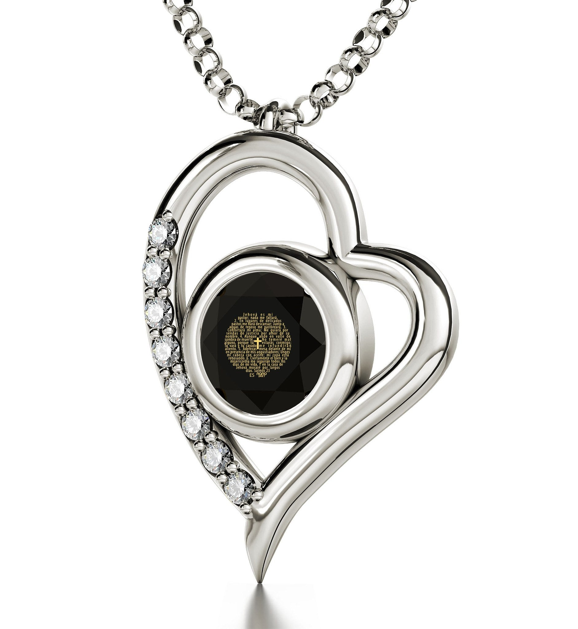 """ValentinesDayPresents for Her, ReligiousGifts for Women, 14k WhiteGoldNecklace with Pendant"""