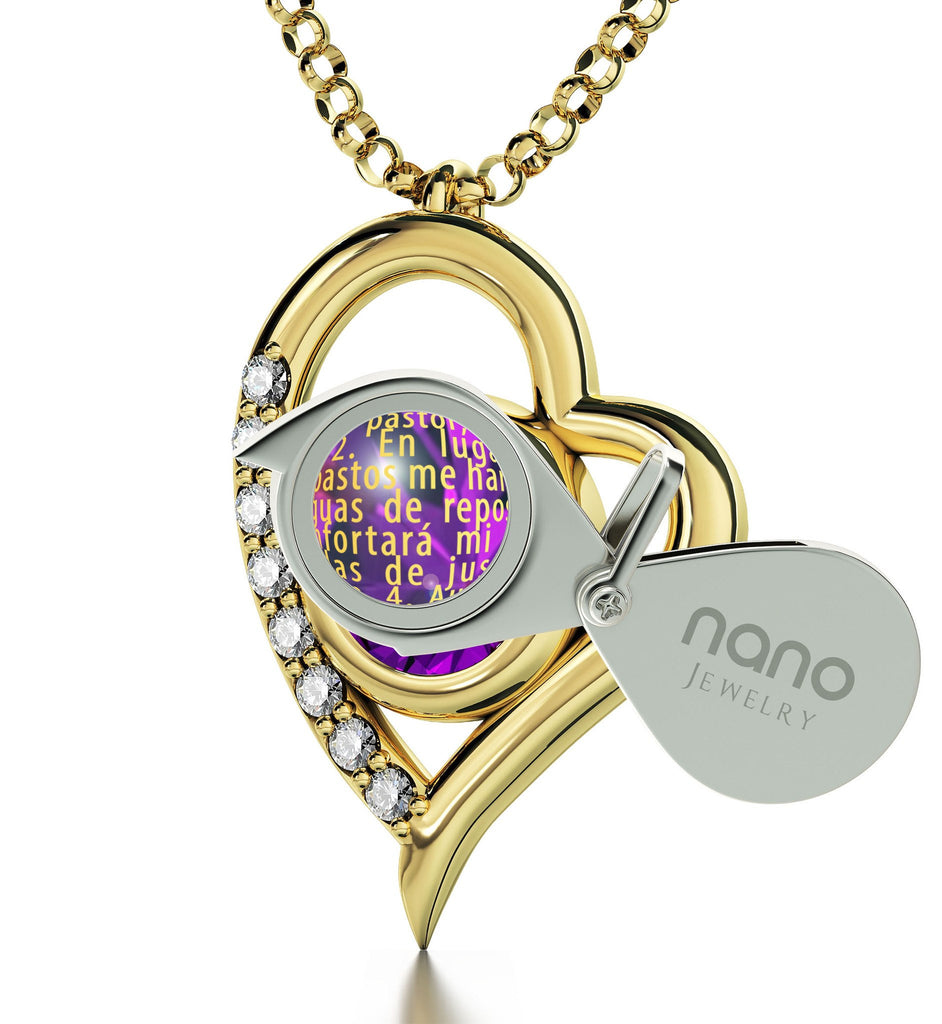 """JehovaEsMiPastorEngraved in 24k: Gifts for BestFriendWoman, Ladies14kGoldNecklace by NanoJewelry"""