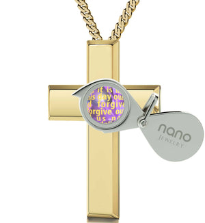 Psalm 23 King James Version Cross Necklace For Girl Gold Jewelry For Women Purple Pendant