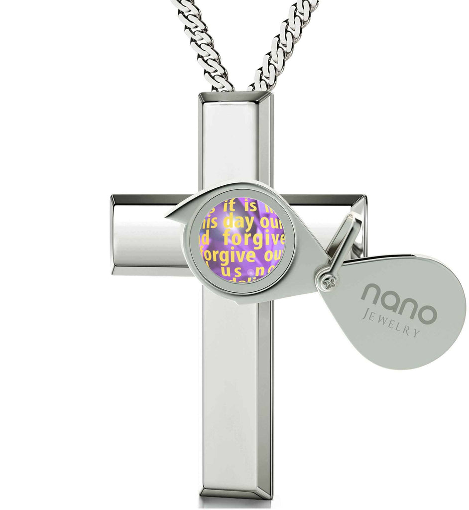 Psalm 23 King James Version, Cross Necklace for Girl,Silver Jewellery for Women, Purple Pendant