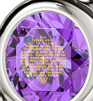 Psalm 23 Kjv, Xmas Ideas for Her, Christian Gift Items, Purple Pendant, Nano Jewelry