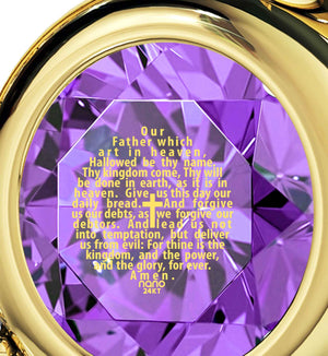 Our Father Kjv, Christian Gift Items, Xmas Ideas for Her, Purple Pendant, Nano Jewelry