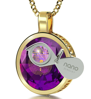 """Psalm91Engravedin24k, TopGiftIdeas for Women, MotherDayPresents, PurpleNecklace, NanoJewelry"""