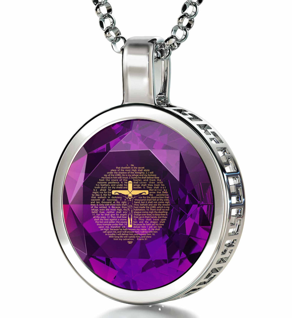 """Psalm91EngravedinPendant, DaughterXmasGifts, BirthdayPresent for Sister, AmethystJewellery"""