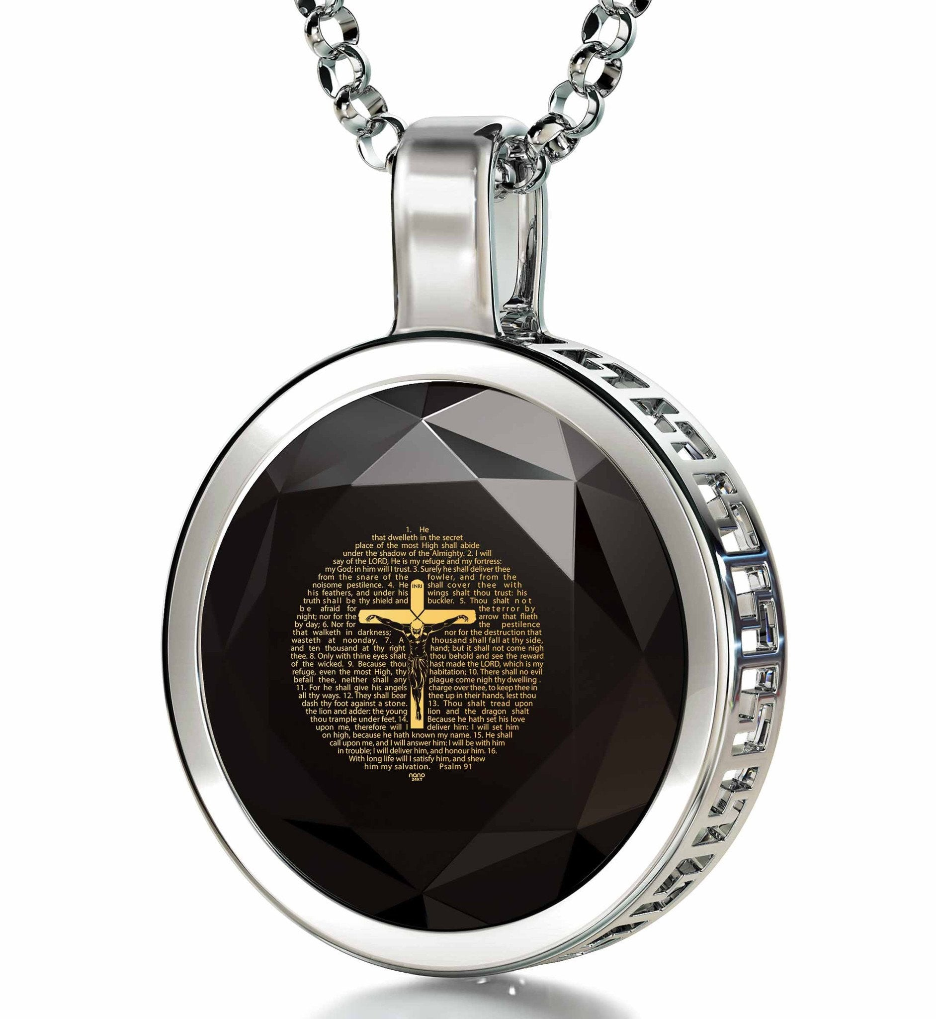 """Psalm91EngravedinPendant, Gifts for Godfathers, MensChristianJewelry, BlackStoneNecklace"""