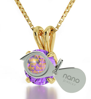 """Psalm 23 inFrenchin 24k: ChristmasPresents for Sister, Gifts for FemaleFriends, Real GoldNecklace, Nano Jewelry"""