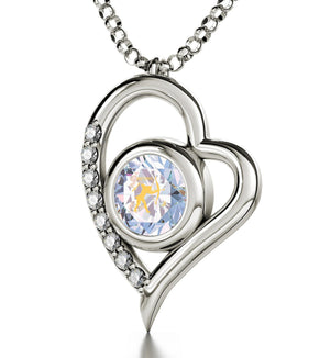 """Pure 14k White Gold Chain with Opalite Charm, What to Get Wife for Christmas, Heart Necklaces for Girlfriend"""