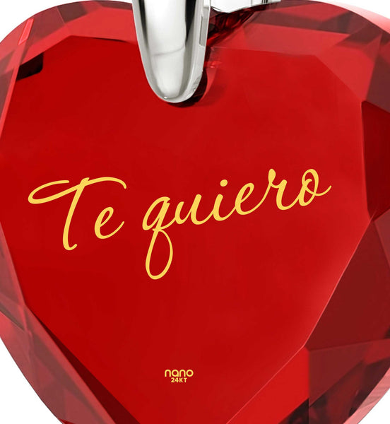 "Pure Romance Products, Red Heart Necklace,""Te Quiero"", Fun Gifts for Women, Nano Jewelry"