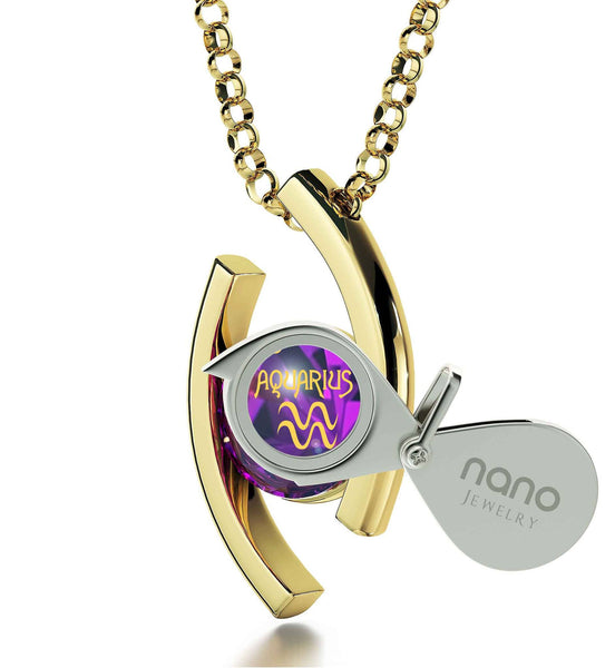 """Purple Birthstone Gold Filled Necklace, Mother's Day Gifts for Wife, Good Presents for Mom, by Nano Jewelry"""