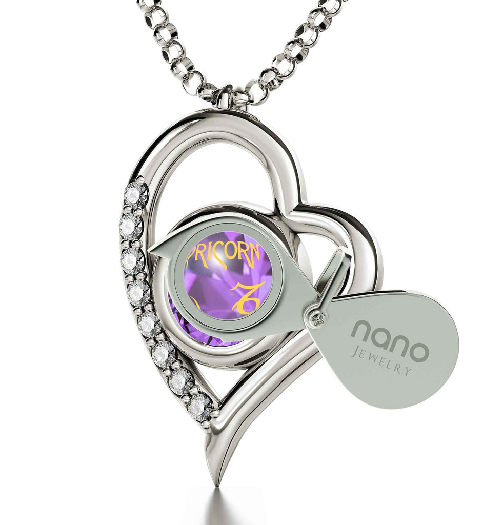 'Purple Capricorn Sign Heart Necklace, What to Buy My Girlfriend for Christmas, Top Gifts for Wife, Nano Jewelry""