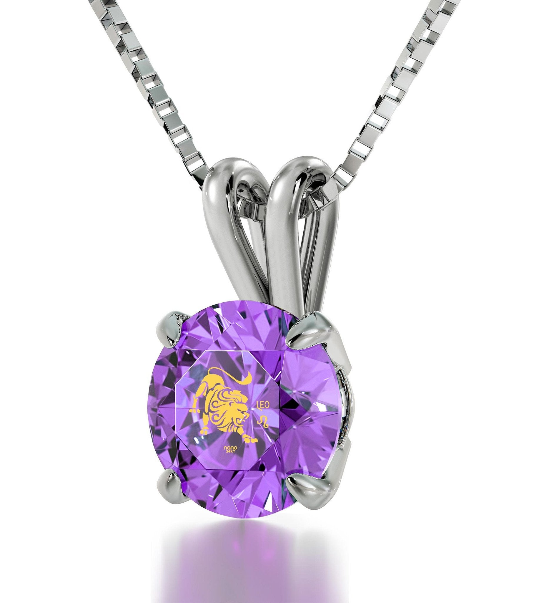 """Purple CZ Stone Leo Necklace, Christmas Ideas for Mum, Birthday Present For Best Friend,by Nano Jewelry"""