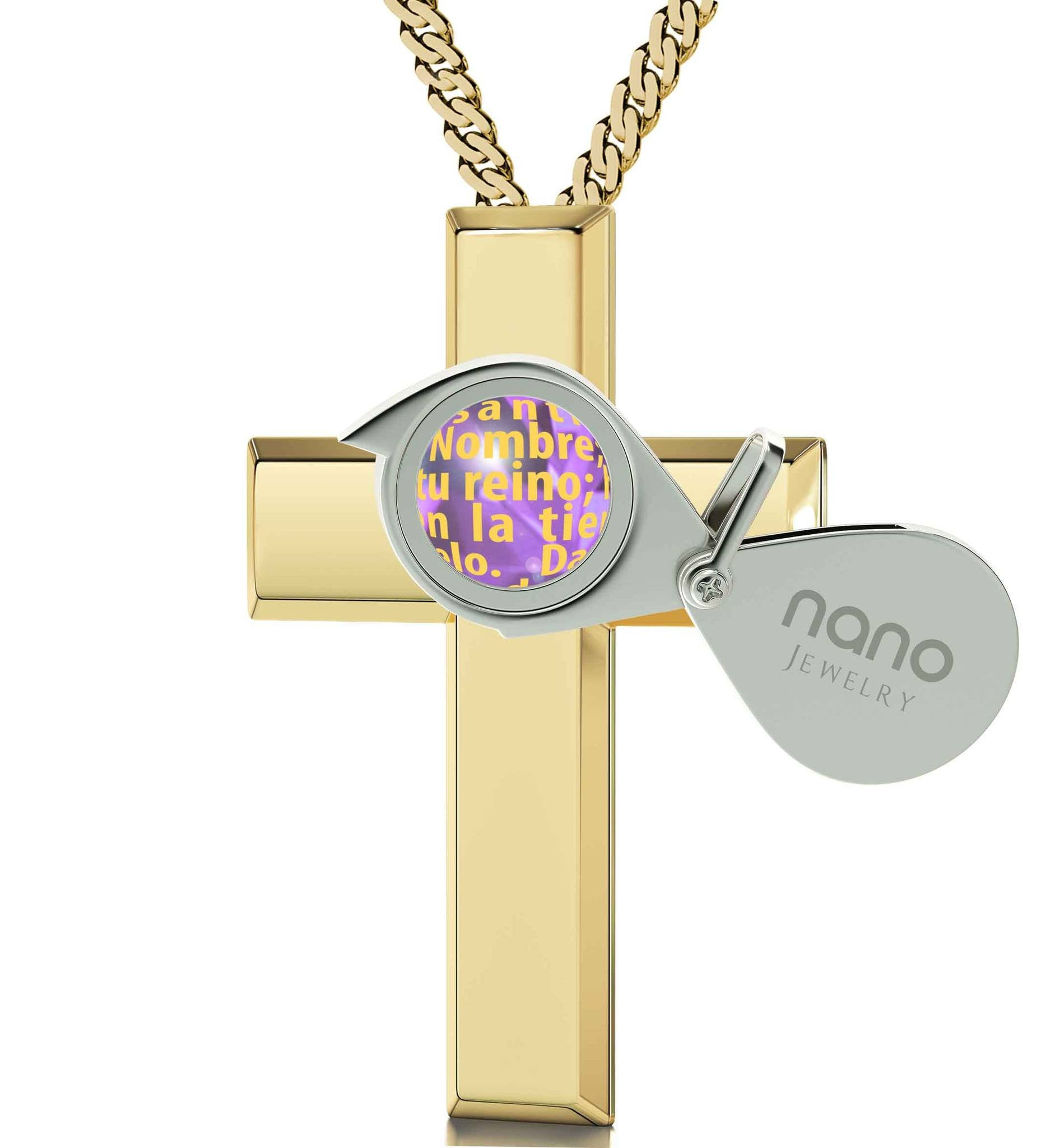 Womens cross pendant spanish lords prayer order now at nano jewelry lords prayer gold cross necklace christmas present ideas for best friend special gifts aloadofball Image collections