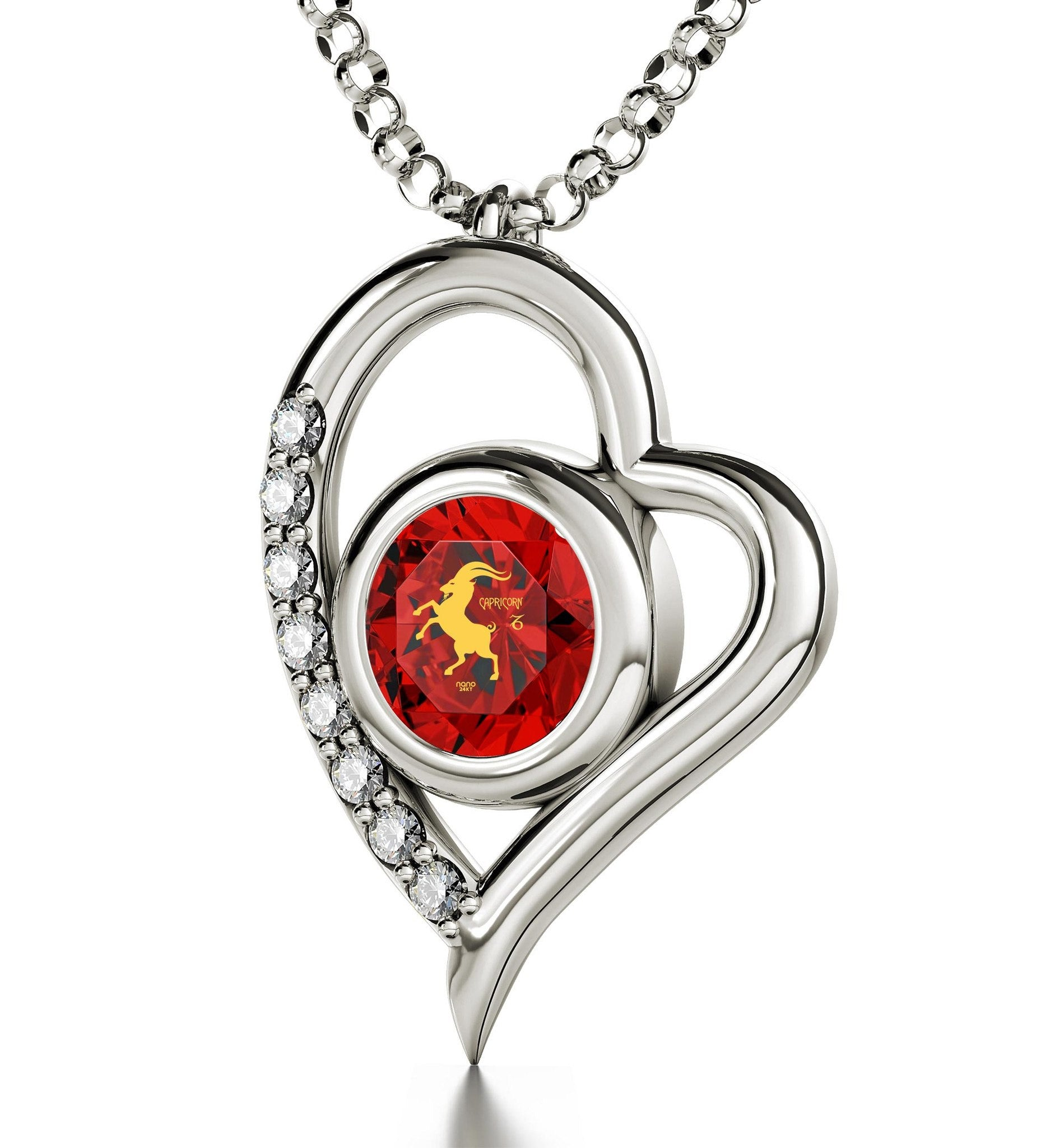 """Cute Red Capricorn Charm with Heart Frame, Great Valentines Gifts for Her, Womens Silver Chains"""