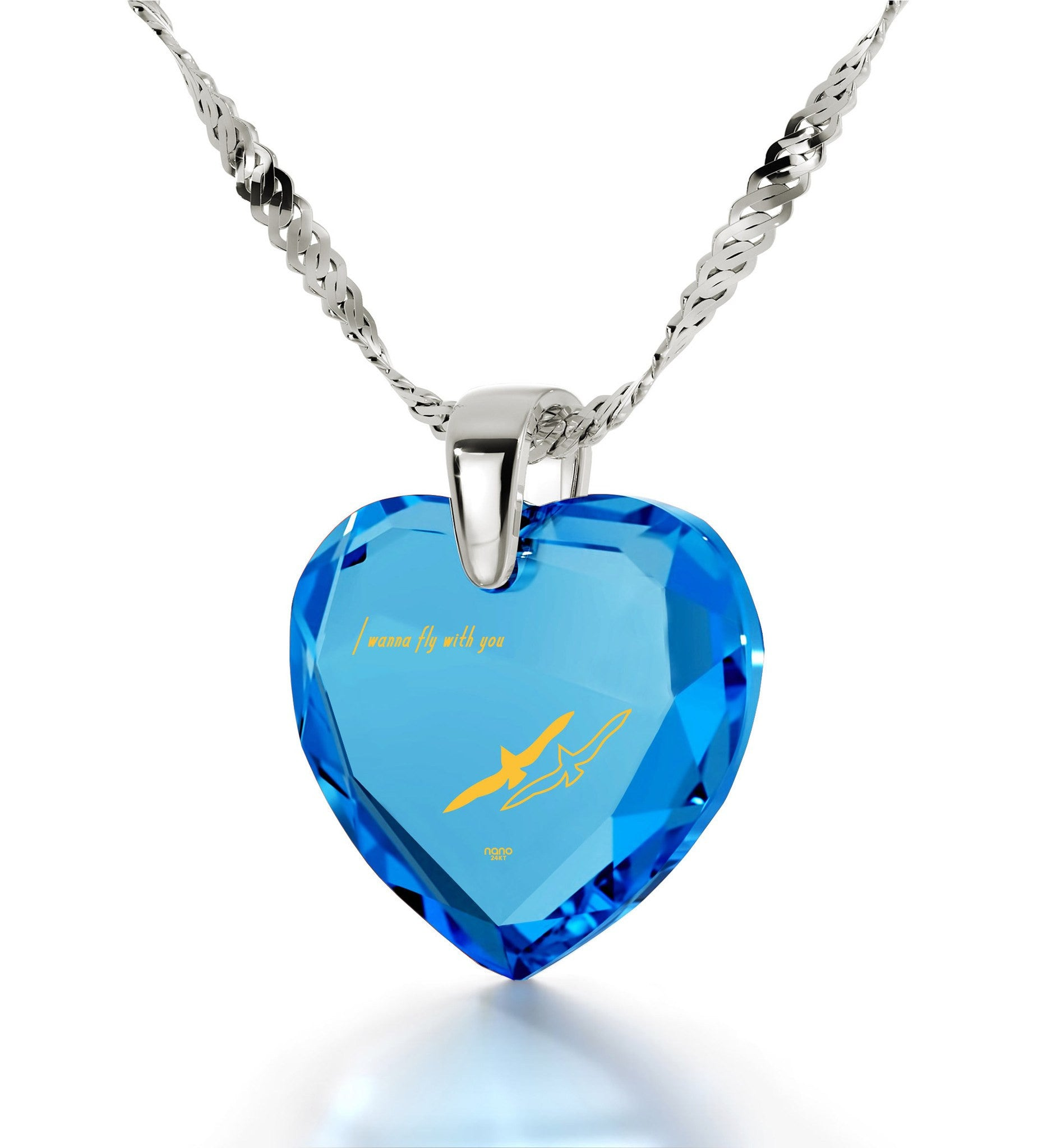 """Romantic Gift for Her, ""I Wanna Fly with You"" Engraved In 24k Gold, Cubic Zirconia, Turquoise Jewelry"""