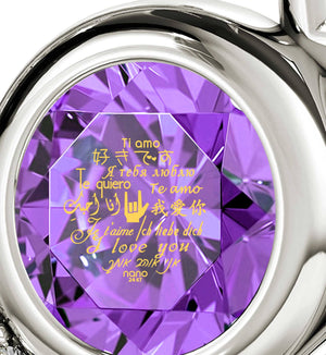 "Valentine's Day Gift Ideas for Girlfriend: ""Te Amo"", Purple Stone Jewelry, Womens Christmas Presents"