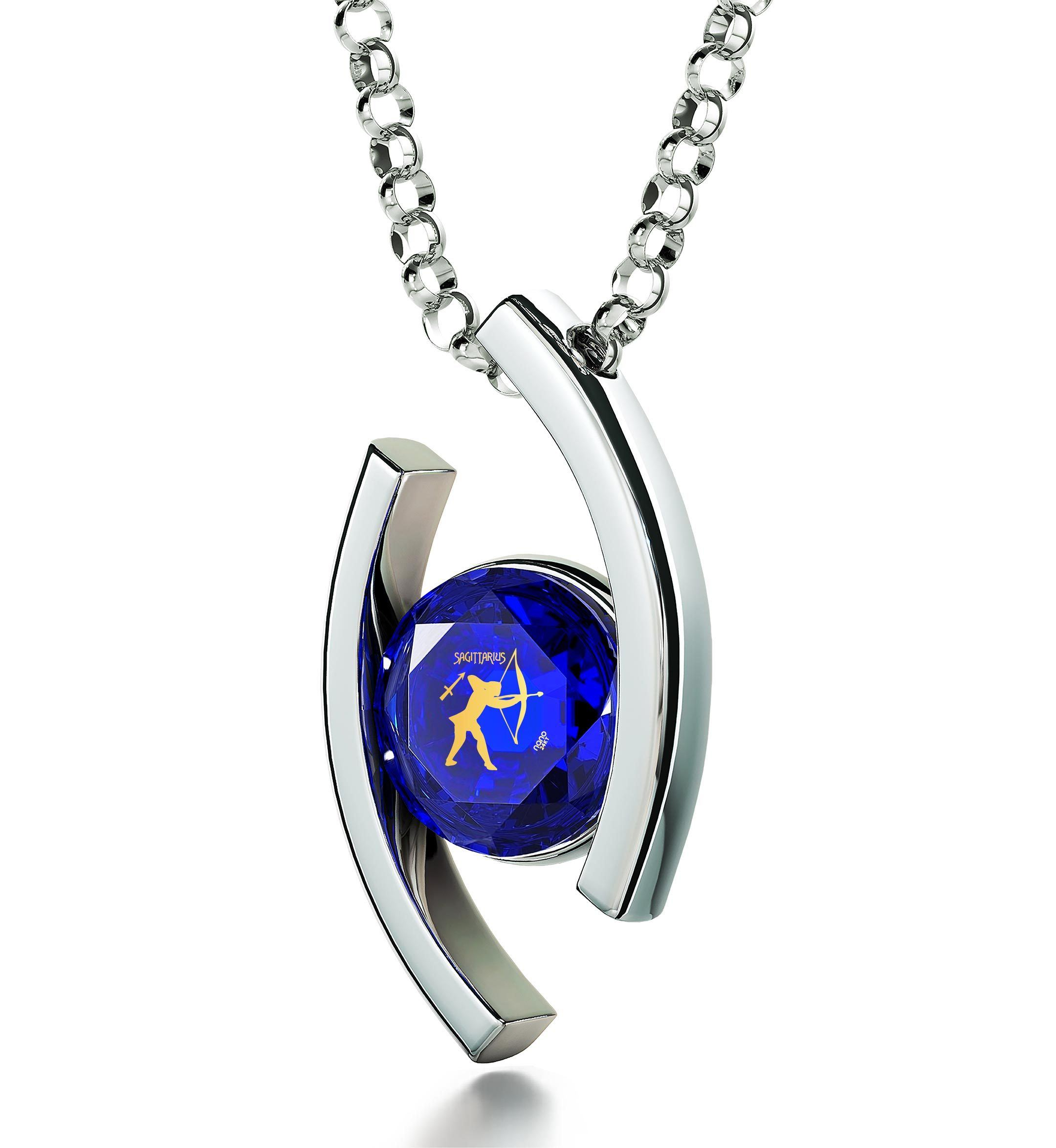 Sagittarius Necklace With Zodiac Imprint, Unusual Valentines Gifts, Presents for Mom Birthday, Blue Stone Jewellery