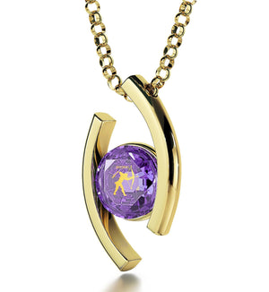 Sagittarius Necklace With Zodiac Imprint, Women's Gold Jewelry, Christmas Presents for Mum, Purple Pendant