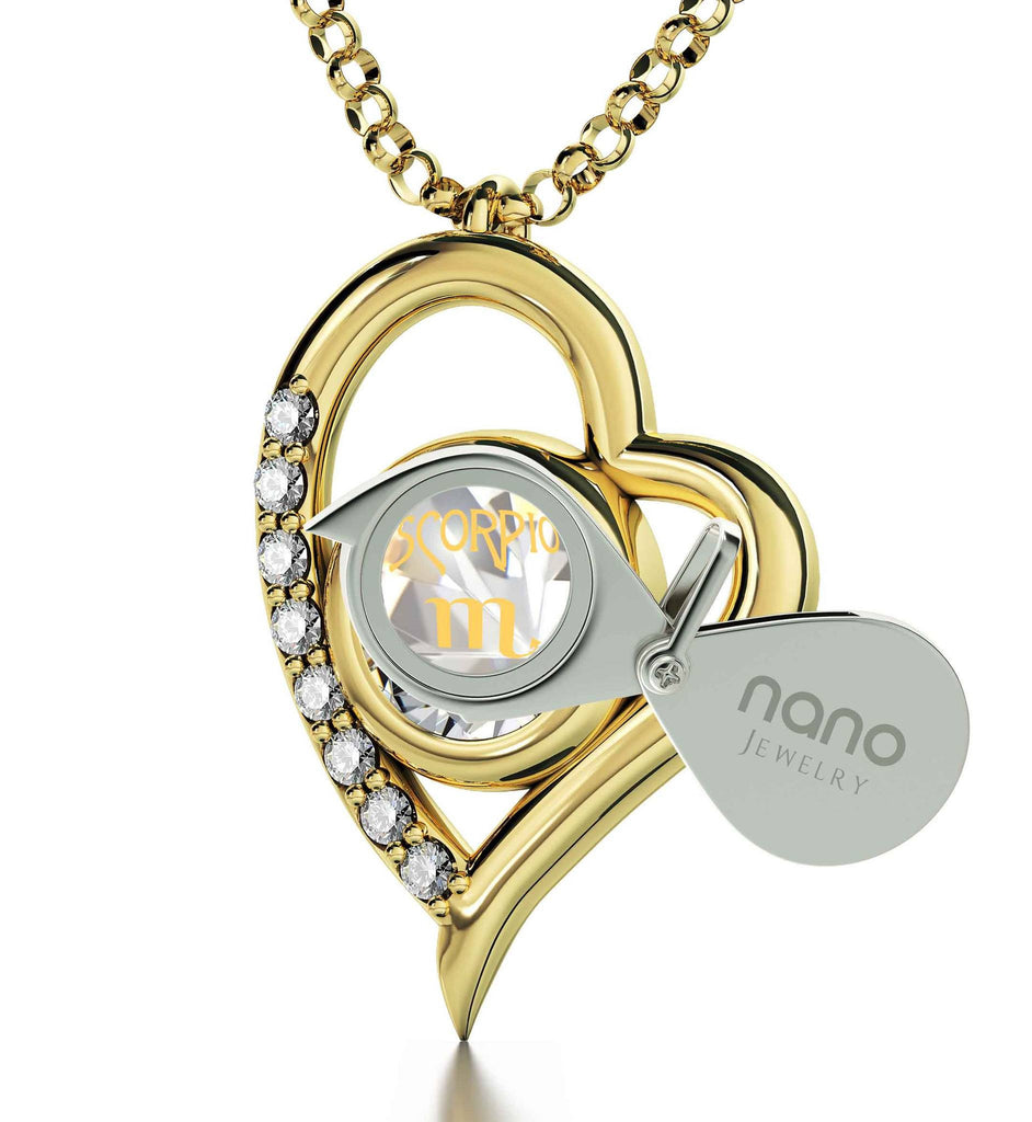 """Scorpio Jewelry, Heart Shaped Pendant, Best Valentine Gift for Girlfriend, What to Get Your Wife for Christmas"""