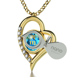 """Scorpio Sign Engraved in 24k, Blue Stone Jewelry, Heart Necklaces for Girlfriend, Top Womens Gifts"""