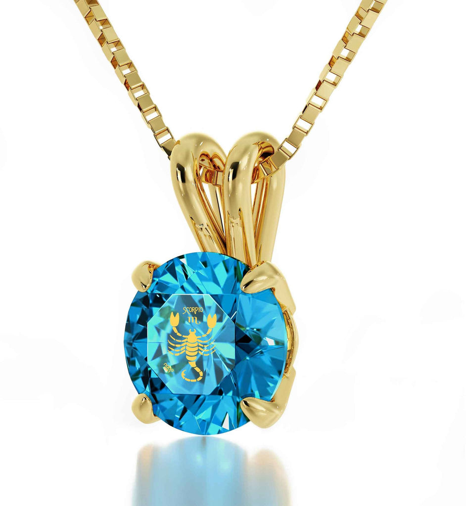 """Scorpio Traits Female, 14k Gold Chain With Blue Topaz Pendant, Valentines Surprises for Her, by Nano Jewelry """