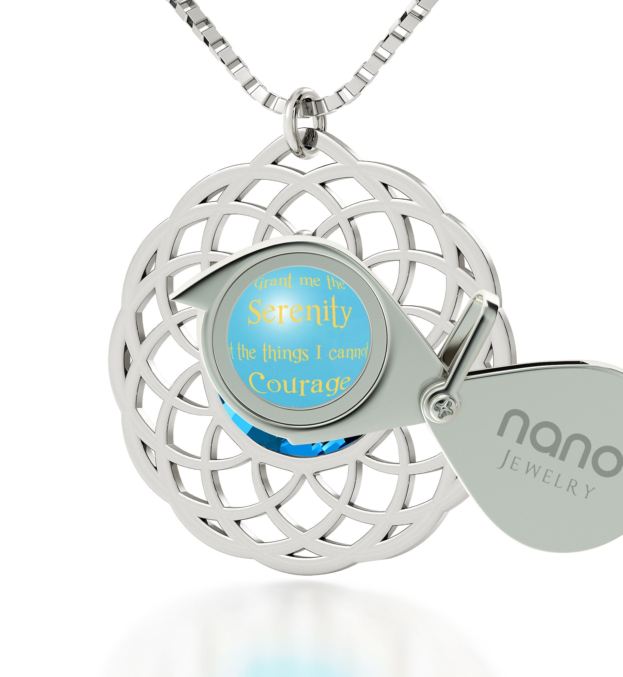 Serenity Jewelry: Top Gifts for Wife, Womens Birthday Presents, Blue Stone Necklace, Nano Jewelry