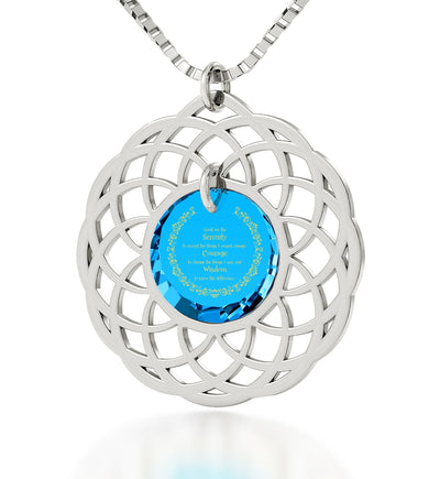 Serenity Prayer Jewelry: Gifts for Wife for Christmas, Presents for Sisters, Blue Stone Necklace, Nano Jewelry